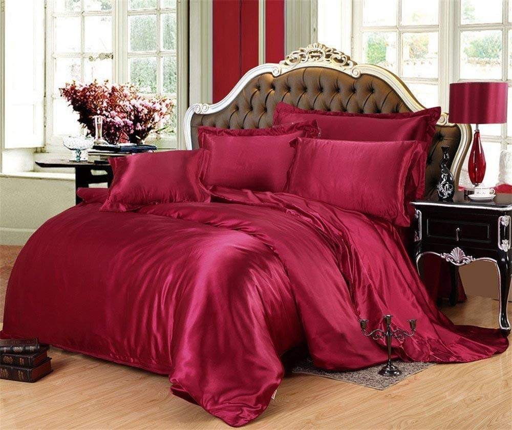 MoonLight Bedding Luxury Soft Silky Satin 3-Pcs Duvet Set Full/Queen, Burgundy