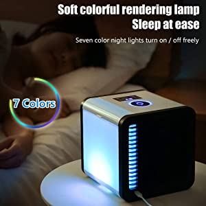 Portable Air Conditioner Units, Personal AC Mini, 2020 USB Water Cooled Air Conditioner Eco-Friendly, Silent Air Cooler with 3 Speeds 7 Colors Led Lights, Cooling Spray Humidifier for Room Outdoor