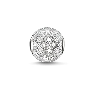 Thomas Sabo Women-Bead Clover leaf Karma Beads 925 Sterling Silver Zirconia white K0134-051-14 aN8gaw
