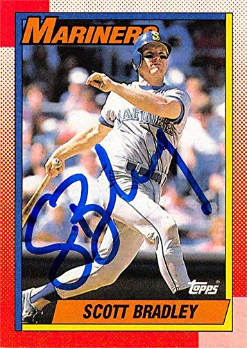 Scott Bradley autographed baseball card (Seattle Mariners) 1990 Topps #593 - Baseball Slabbed Autographed Cards