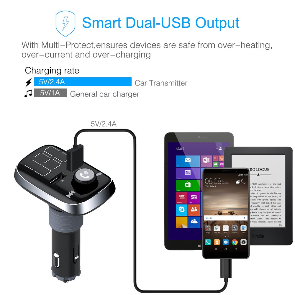 Bluetooth FM Transmitter, BliGli Dual USB Car Charger MP3 Player Handsfree Car Kit Wireless Radio Audio Adapter for iPhoneX / 8 / 7 / 6s / Plus, iPad Pro, Galaxy , Note 5 / 4, LG, Nexus, HTC and More (Black 2)