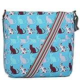 Miss Lulu Canvas Dog Cat Print Cross Body Messenger Bag (Cat Teal)