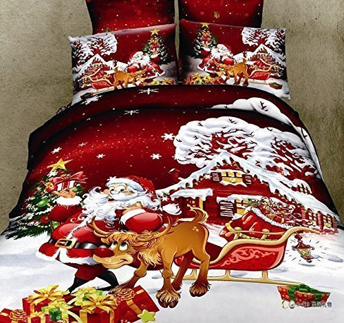 Wowelife Cotton Santa and the Reindeer Print Father Christmas 4 Piece Duvet Cover Set Bedding Sets 4 PCS, Bed Sheet, Pillow Cases (Comforter Not Included) (Full)