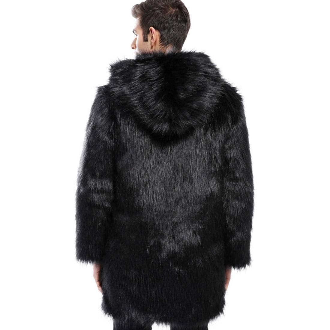 7cbd108f21ff Felljacke Kurz mit Mütze Design Herren Pelzmantel Kunst,AKAUFENG  Winterjacke Mantel Kunstpelz lange Jacke Faux Fur für Männer  Amazon.de   Bekleidung