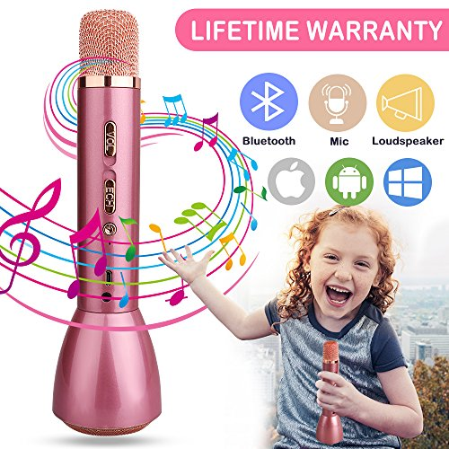 Microphone for Kids Cordless Child Karaoke Microphone Wireless Kids Microphone with Bluetooth Speaker Portable Handheld Toy Karaoke Machine Music Sing Microphone for Girl Boy Children Home (Rose Gold)