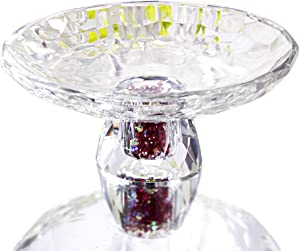 Crystal Serving Bowl With Colorful Rhinestones, Decorative 5.9 inch Elegant Round Dish For Serving Dessert, Salad, Snack, And Fruit Ideal For Home, Office, Party, Wedding Decor