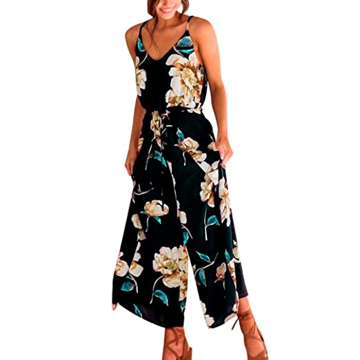 ab547c5fd4a2 Makaor Women Strappy Floral Sling Long Trouser Playsuits Jumpsuit Rompers  Holiday Dress (Black