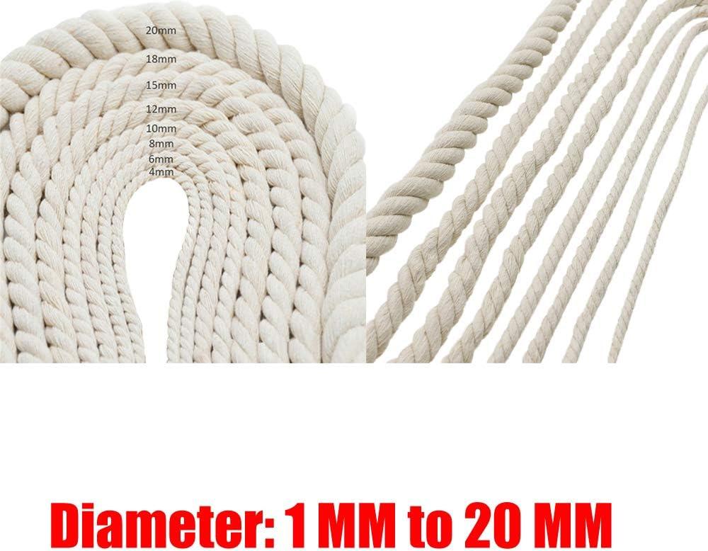 Cordón de macramé de algodón natural hecho a mano (1 mm a 20 mm ...