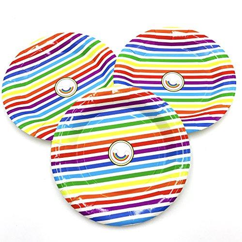 ReaLegend 40 Count 7-Inch Rainbow Round Theme Party Birthday Cake Plates Dessert Papper Plates - Rainbow ()