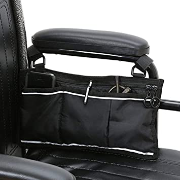 Wheelchair Side Bag, Portable Wheelchair Mobility Carrying Wallet Armrest Bag Hanging Handle Holder Side Bag