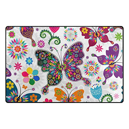 INGBAGS Super Soft Modern Butterfly Area Rugs Living Room Carpet Bedroom Rug for Children Play Solid Home Decorator Floor Rug and Carpets 31 x 20 Inch]()