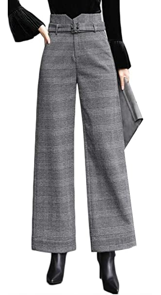 5db3217ac5 UUYUK Women Fall & Winter High Waist Slim Plaid Wide Leg Palazzo Pants at  Amazon Women's Clothing store: