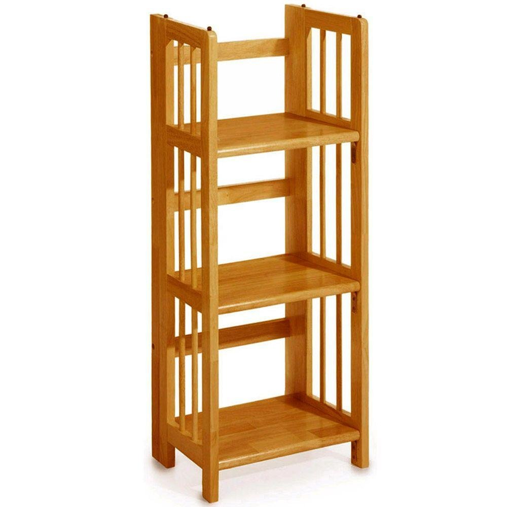 "Mission Style 38 x 14 Inch Light Oak Folding / Stacking Bookcase, 14""W, HONEY OAK"