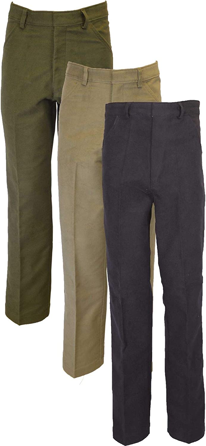 1920s Men's Clothing Walker & Hawkes - Mens Classic Moleskin 100% Cotton Pants - Olive Beige $58.95 AT vintagedancer.com