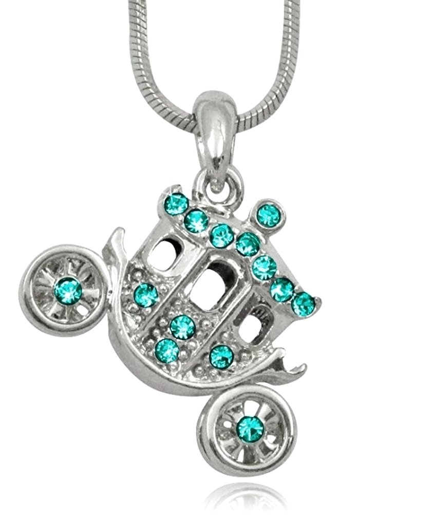 Glamour Girl Gifts Collection Silver Tone Crystal 3D Princess Pumpkin Carriage FairyTale Charm Necklace Girls, Teens, Women Gift (Teal)