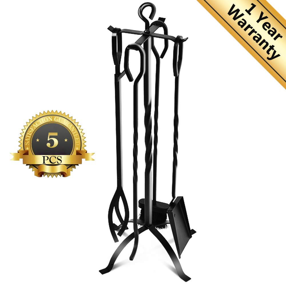 VIVREAL Fireplace Tool Set - Heavy Duty 5 Pieces Wrought Iron Fireplace Tools Home Fireplace, Wrought Iron Fireset Poker, Tongs, Shovel, Brush, Center Stand - Easy to Assemble FT01