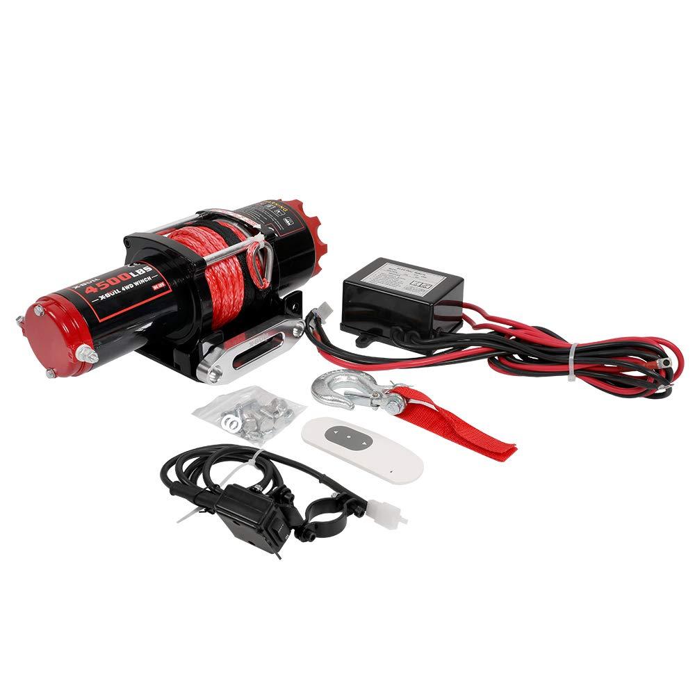 X-BULL 12V Cuerda Sint/ético Cabestrantes El/éctricos 4500LBS//2041KG Winch 10meter Wireless ATV 4WD