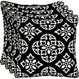 Better Homes and Gardens Outdoor Patio 18'' Square Pillow with Welt, Set of Four, Black and White Medallion Floral Pattern, Fun and Modern and Comfortable! With UV Protection to prevent fading!
