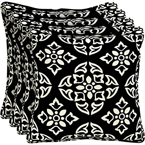Better Homes and Gardens Outdoor Patio 18'' Square Pillow with Welt, Set of Four, Black and White Medallion Floral Pattern, Fun and Modern and Comfortable! With UV Protection to prevent fading! by Better Homes and Gardens