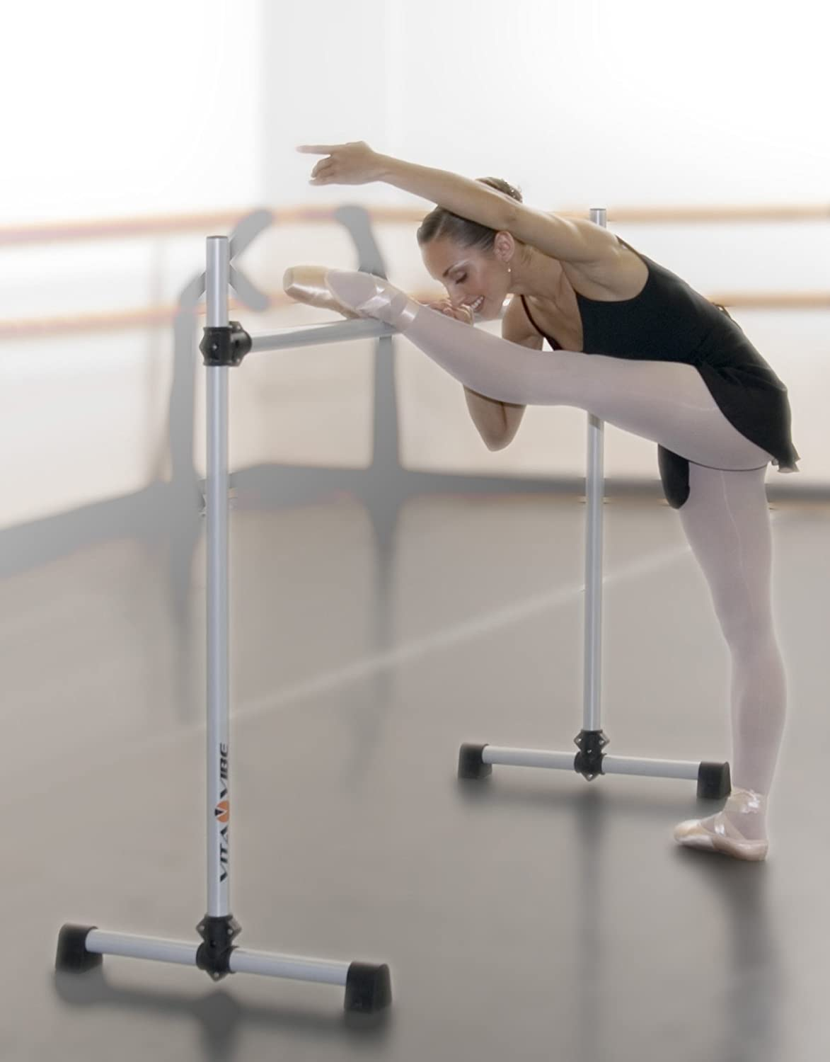Vita Vibe - Prodigy Portable Single Barre - Freestanding Stretch/Dance Bar - Made in The USA 4 FT - 5 FT