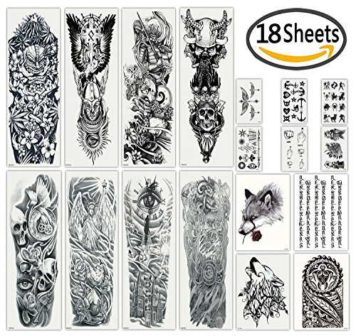 DaLin Extra Large Black Full Arm Temporary Tattoos and Half Arm Tattoo Sleeves for Men Women, 18 Sheets (Collection (Halloween Makeup For Men Half)