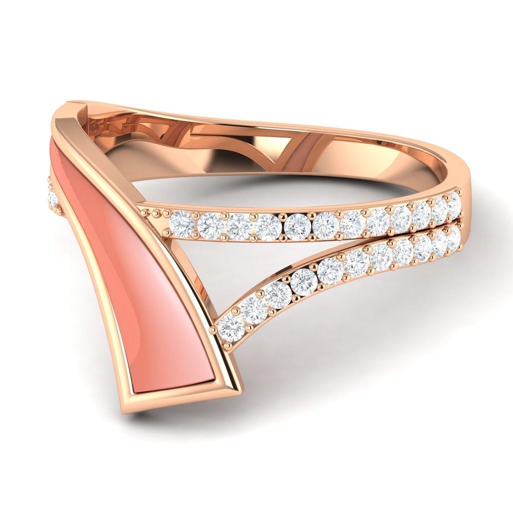 Crystal Lit Shell Diamond 14KT Gold Ring