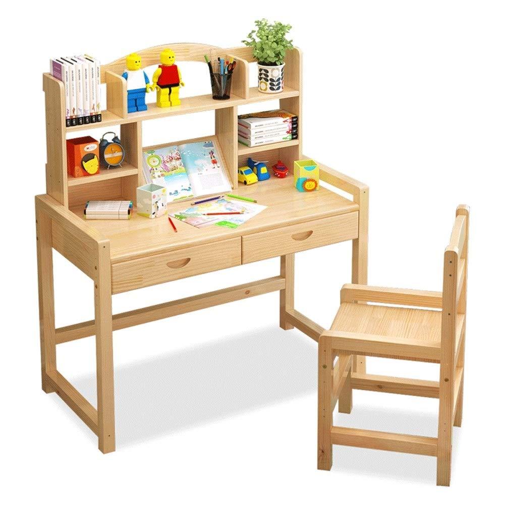 Wood Farbe Massivholz Kinderschreibtisch und Stuhlset Schülerschreibtisch Höhenverstellbarer, ergonomischer Kinderschularbeitsplatz mit doppelter Schublade (Farbe   Wood Farbe)