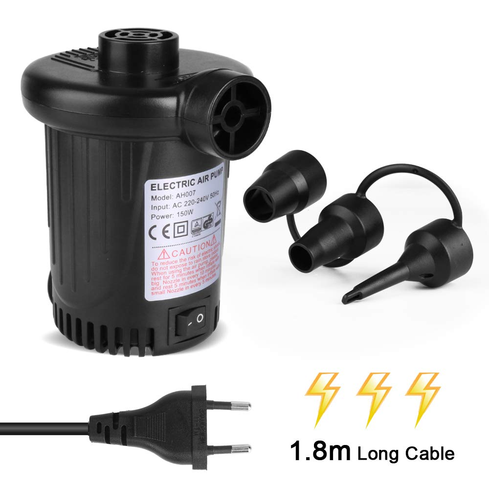 Deeplee Bomba de Aire Eléctrica, Inflador Eléctrico 150W de Alta Potencia Colchones Inflables/deflactor para Piscinas, Barcos, Juguete Inflado, 3 ...