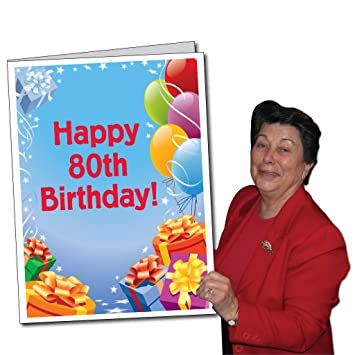 Amazon Com 2 X3 Giant Presents And Balloons 80th Birthday Card W