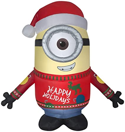 gemmy airblown 95 minion carl merry christmas inflatable indooroutdoor holiday yard decor - Minion Merry Christmas