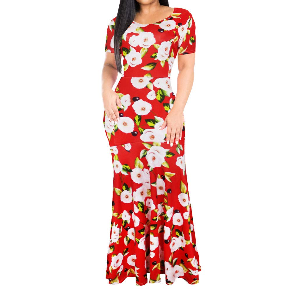 Giulot Women's Vintage Plus Size Floral Printed Maxi Dress Boho Pleated Swing Hawaii Beach Sundress Evening Gowns Red by Giulot