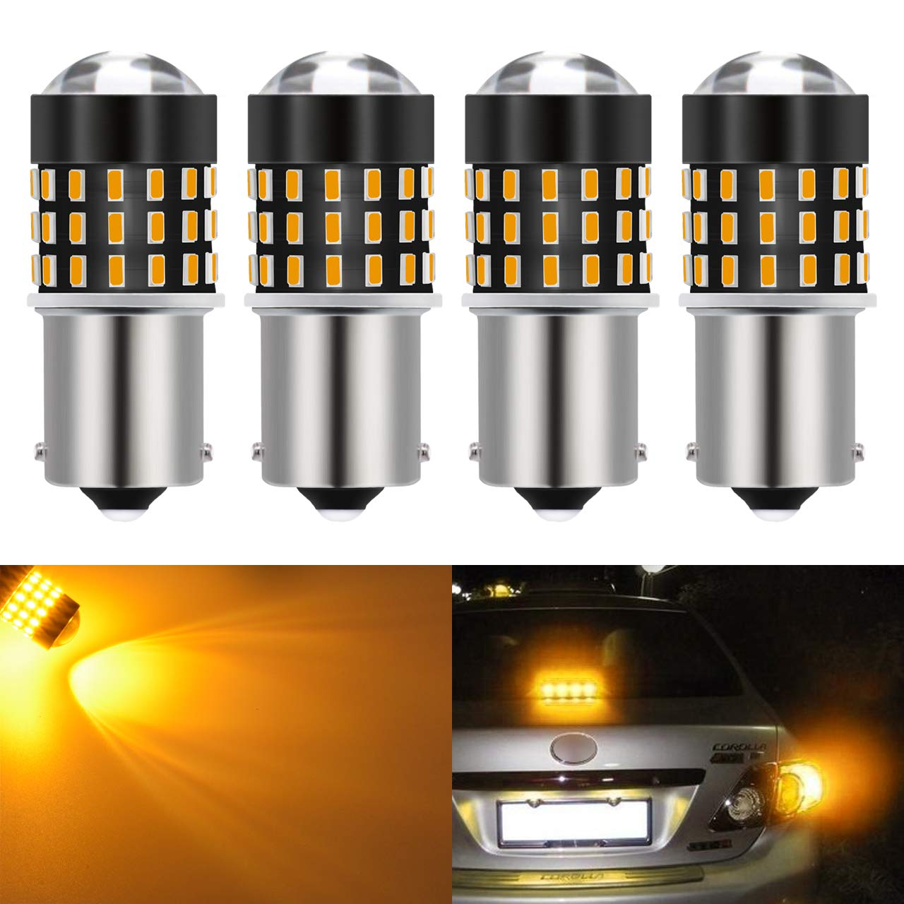 KaTur 4pcs Super Bright 1156 BA15S 7506 1073 1095 1141 3014 54SMD Lens LED Replacement Bulbs Turn Brake Signal Tail Back Up Stop Parking RV Lights 3.1W DC 12V-24V Amber 1156/P21W/BA15S