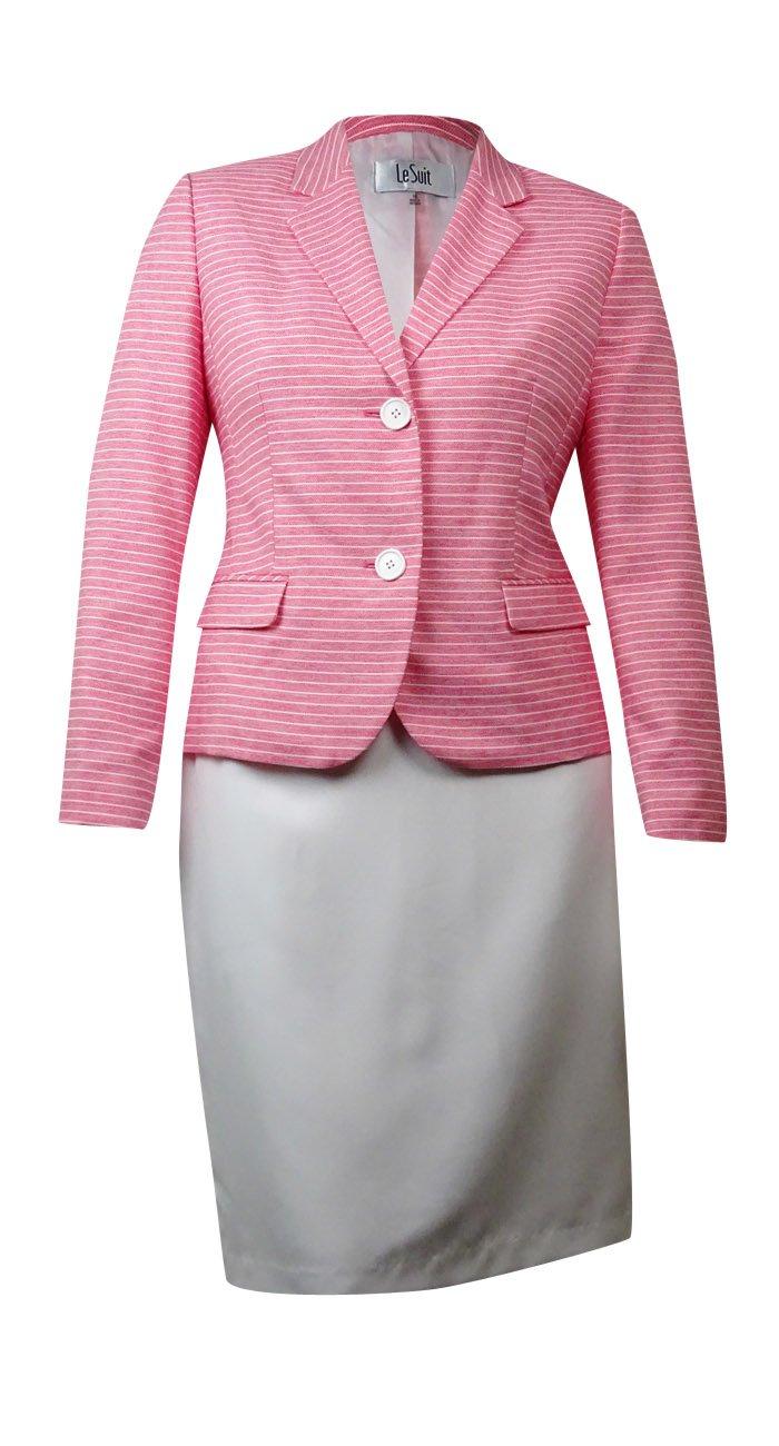 Le Suit Women's 2 Button Novelty Stripe Jacket and Skirt Suit Set, Strawberry/Vanilla Ice, 16