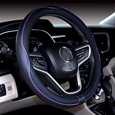 DuoDuoBling Genuine Black Leather Steering Wheel Cover 15 Inch for Men 2020 New Automotive Cute Jeep Car Interior Accessories (Purple): Automotive