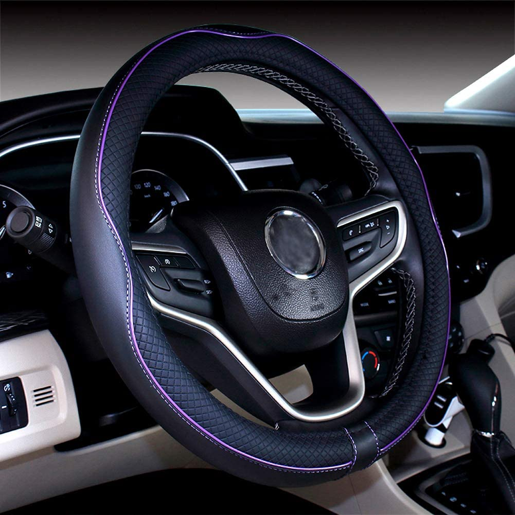 DuoDuoBling Genuine Leather Steering Wheel Cover 15 Inch for Men 2019 New Automotive Cute Jeep Car Interior Accessories Dark Blue