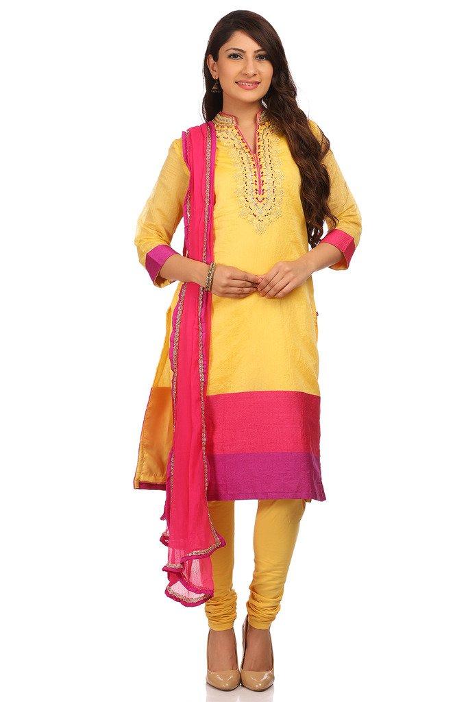 BIBA Women's Poly Cotton Straight Salwar Kameez Dupatta Suit Sets 36 Lime