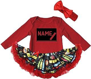 Petitebella Personalize Blackboard Red L/s Bodysuit Red Stationery Dress Nb-18m