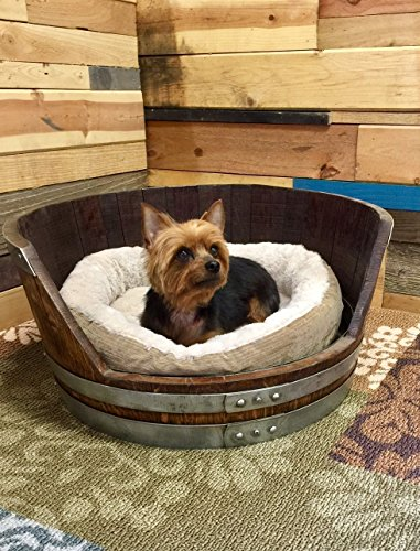 Wine Barrel Dog Bed, Medium Personalized Pet Bed with Soft Bedding by Top Shelf Barrel