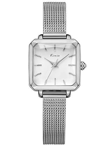 Alienwork Reloj Mujer Relojes Acero Inoxidable Plata Analógicos Cuarzo Blanco Impermeable Clásico Elegante: Amazon.es: Relojes