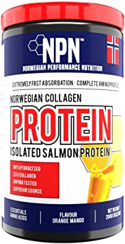 NPN Collagen protein | Proteína de colágeno | Soporte articular, cutáneo y muscular | Salmon sourched, calidad noruega premium | 10x20g Naranja mango ...