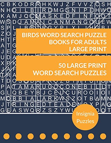 Birds Word Search Puzzle Books For Adults Large Print: One P