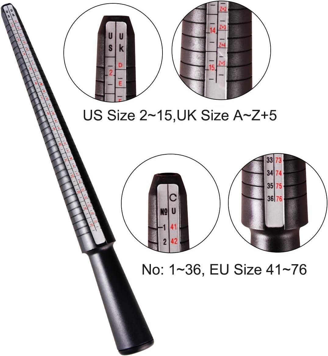 Meowoo Ring Sizer Measuring Tool Set Plastic Ring Sizer Mandrel and Finger Size Gauge US Ring Sizer 1-17 for Men Women 3 pcs
