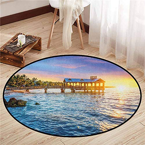 Indoor/Outdoor Round Rugs,United States,Pier at Beach in Key West Florida USA Tropical Summer Paradise,Children Bedroom Rugs,2'11