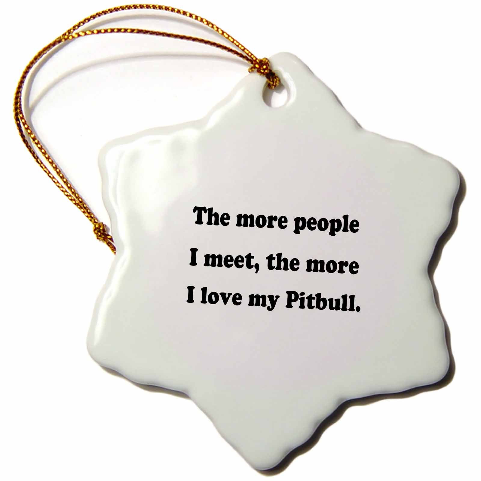 3dRose LLC orn_113634_1 Porcelain Snowflake Ornament, 3-Inch, ''The More People I Meet The More I Love My Pitbull/Dog Lover''