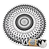 VASTING ART Microfiber Large Round Beach Blanket Tassels Super Water Absorbent Multi-Purpose Towel 60 inch,Black White