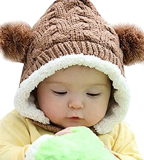 592cc6bfb3a ELFJOY Unisex Baby Knitted Elf Style Pom Hat Winter Kid Warm Soft Fleece  Lined Cap (