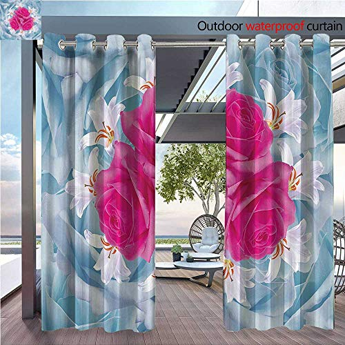 DESPKON Active Printing Fabric Polyester Material Roses and Lilies with Soft Bright Colors Nature Blooms Springtime for Outdoor Wedding W96 x L108 INCH