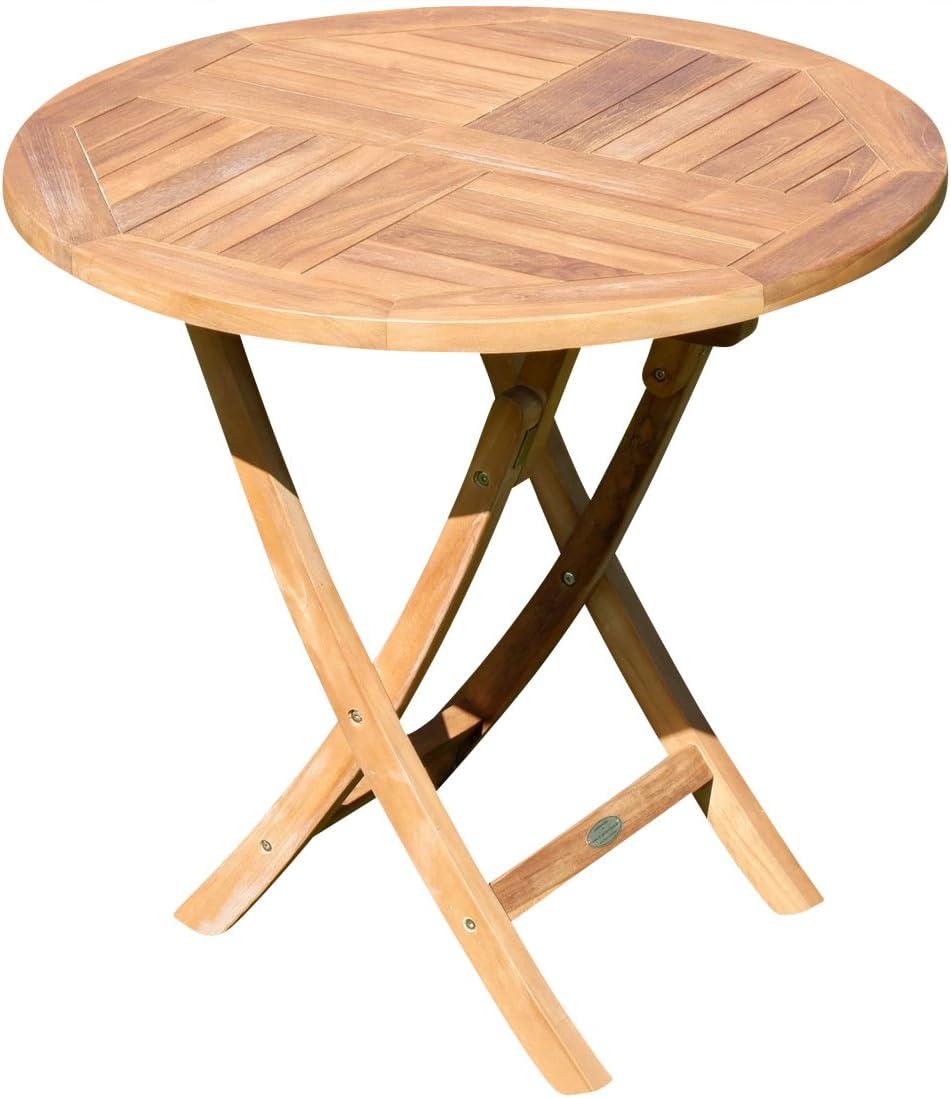 ASS ECHT Teak Gartentisch Klapptisch Holztisch Gartentisch Tisch rund 36cm  JAV-Coamo von