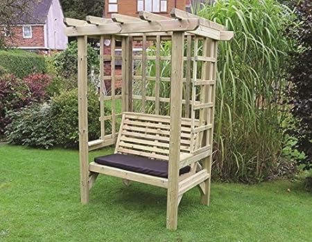 3 plazas enrejado Arbour – madera árbol con impermeable cojín del asiento: Amazon.es: Jardín