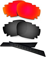 HKUCO Silver Polarized Replacement Lenses plus Black Earsocks Rubber Kit For Oakley Racing Jacket Vented HZjsTwF